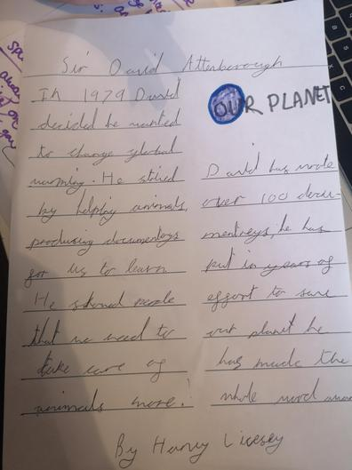 A great report on David Attenborough by Harvey from Mersey