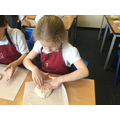 stretching the dough