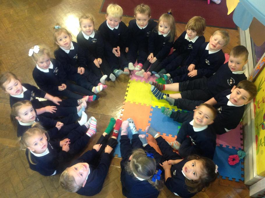 We wore odd socks today for Anti-bullying week
