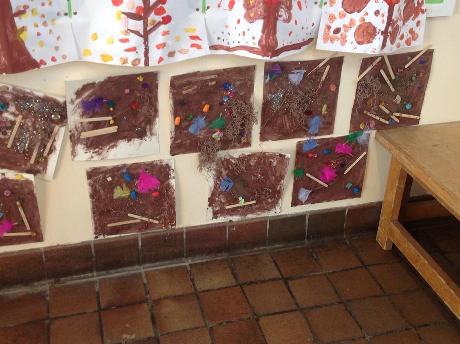 Children used soil, paint, lollipop sticks etc