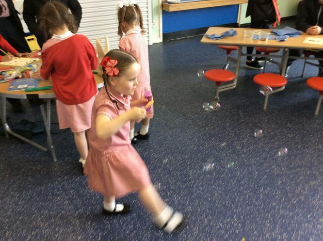 Pearl enjoyed making bubbles!