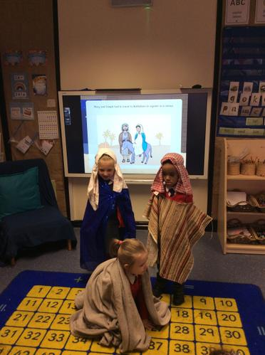 Mary and Joseph travel to Bethlehem on a donkey.