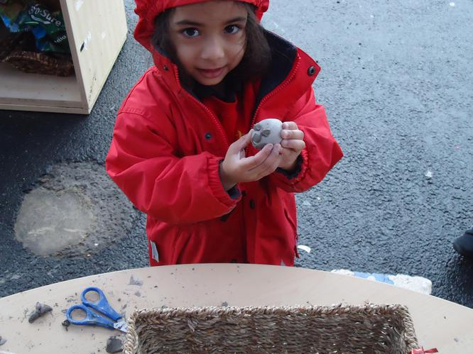 Forming shape with clay
