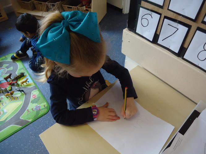 We like to record numbers in the maths area.