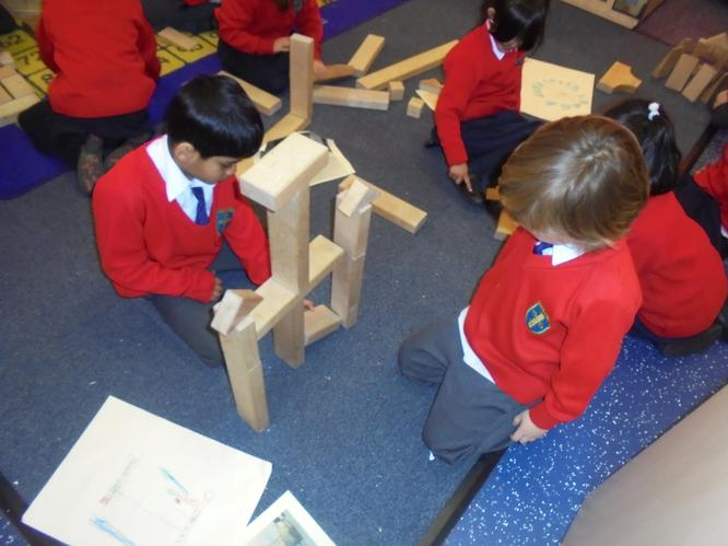 The boys worked collaboratively together.