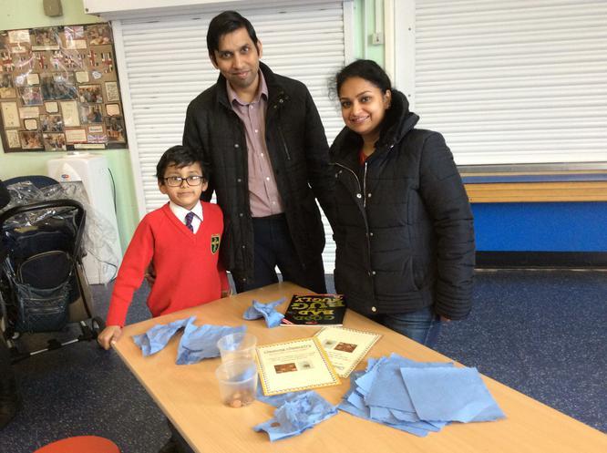 Arav had fun using vinegar to clean coins.