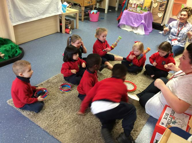 We are creating sounds using instruments.