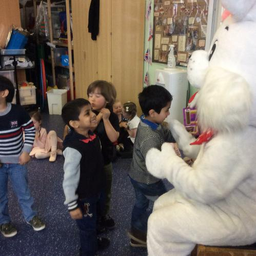 The boys in Year 1 enjoyed meeting the bunny.