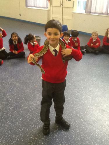 Kostis enjoyed holding the snake!