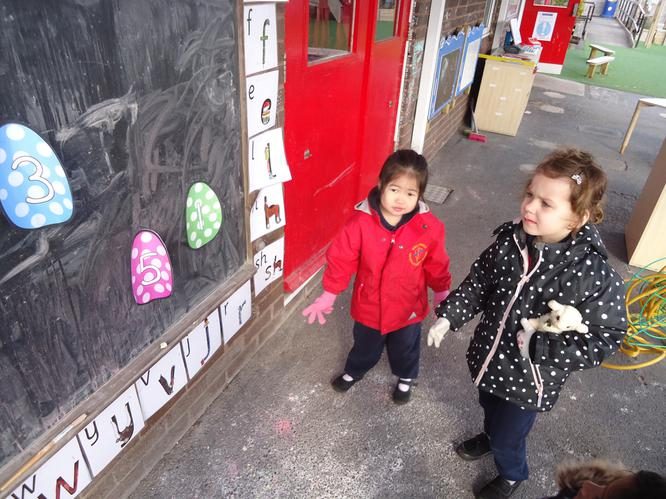 We found lots of eggs with numbers.