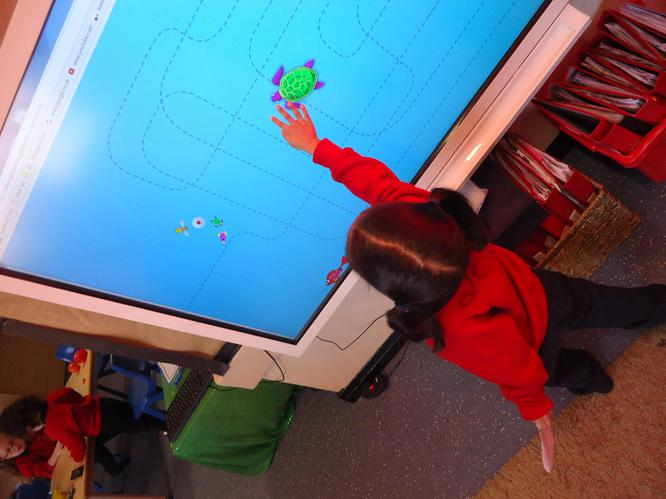 Using the interactive board.
