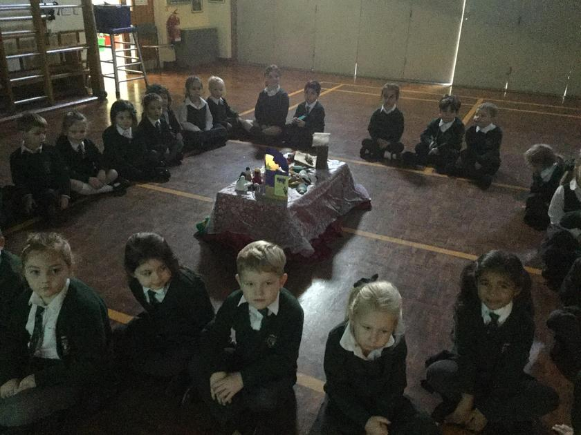 We talked about the different candles on an Advent wreath