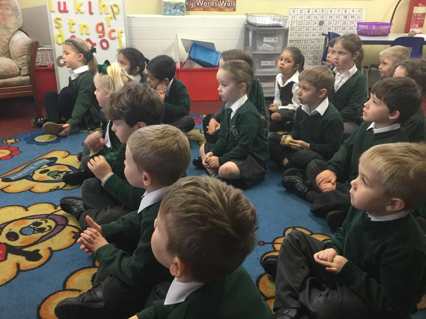 The children listen to the role of a Parish Priest