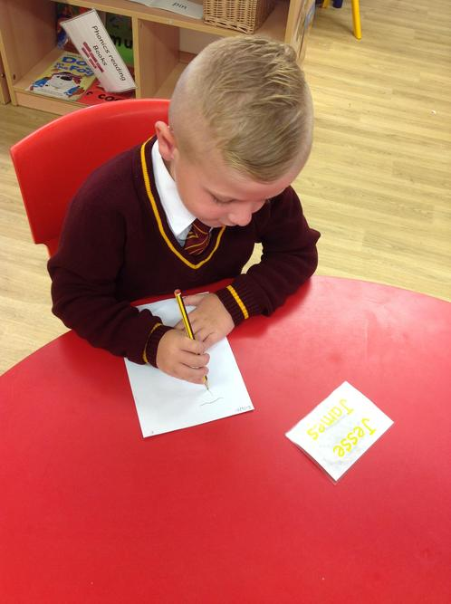 We practiced writing our name.