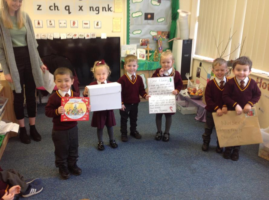 We opened  a letter from the Jolly Postman and he have us a book to read about him