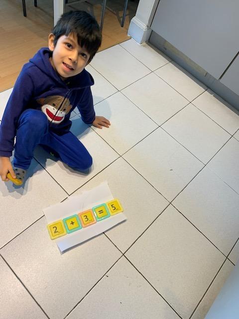Mateo B making number sentences