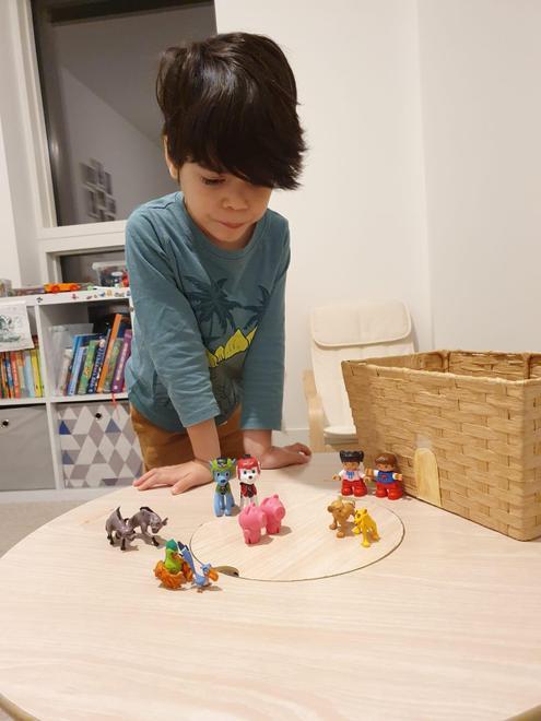 Thomas making his own version of The Gigantic Turnip story