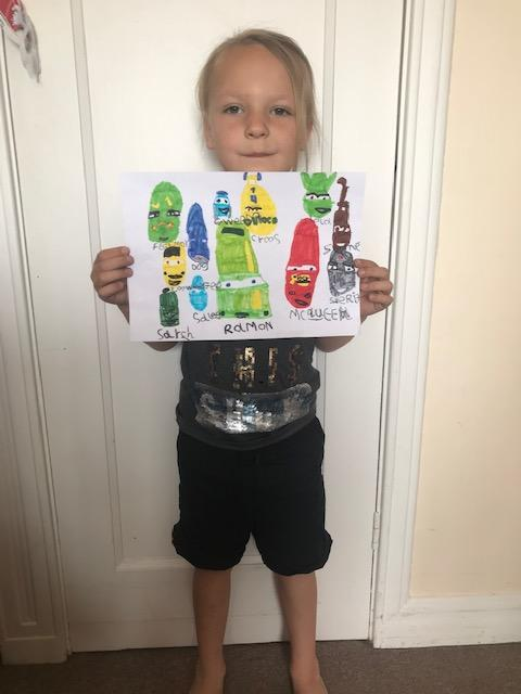 Borys with his amazing Cars painting