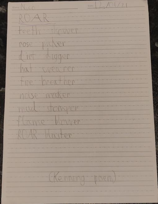 Nico's phenomenal Kenning poem