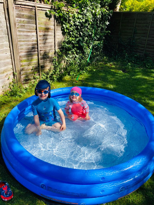 Theo and Tilly in the Pool