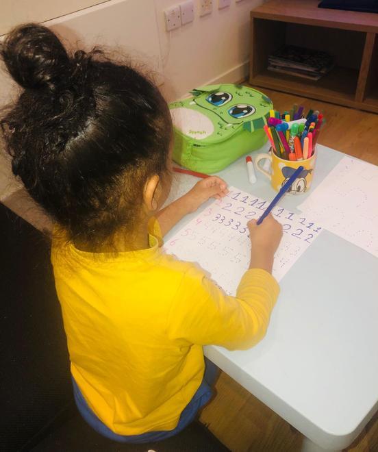 Joylen practising his numbers