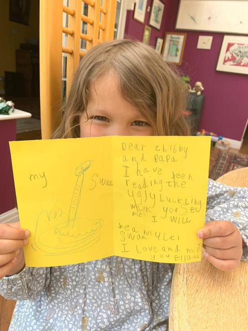 Ella O's Ugly duckling card with amazing writing
