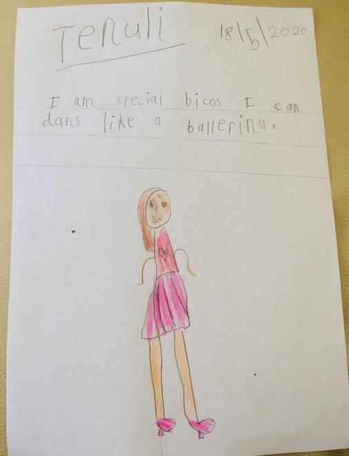 Tenuli's 'I am special' writing