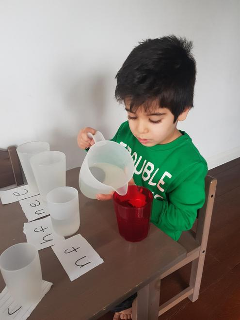 Yousef pouring carefully!