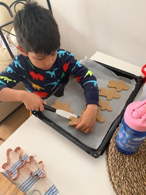 Mateo B cooking his gingerbread men