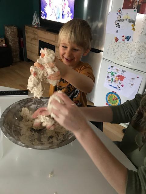 Alex making a fossil