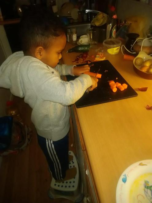 Jonathan making vegetable soup