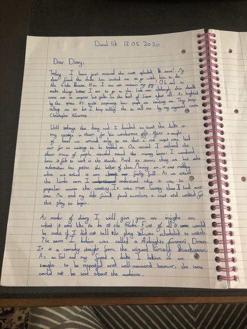Daniel's Globe Theatre diary entry