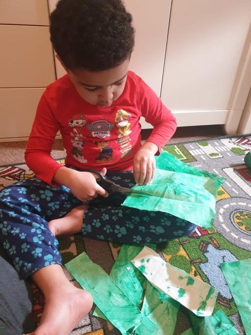 Gabriel making his beanstalk