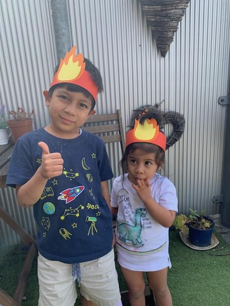 Mateo and Aria's Pentecost hats