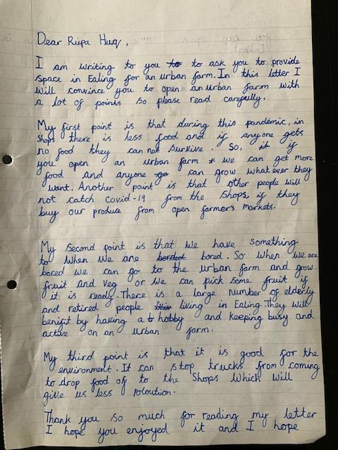 Lara's urban farming letter to an MP
