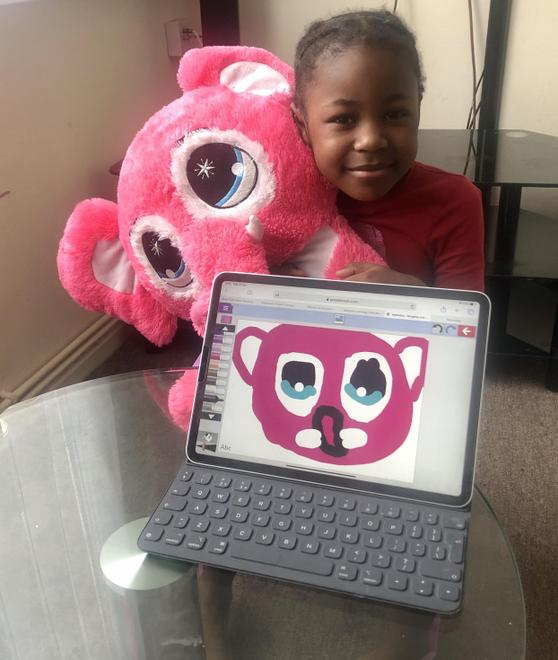 Emily used Mini Mash to draw her sister's teddy!