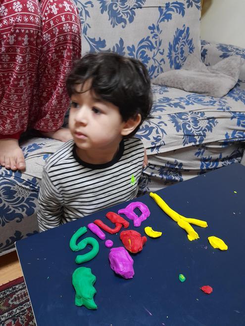 Yanis' playdough writing