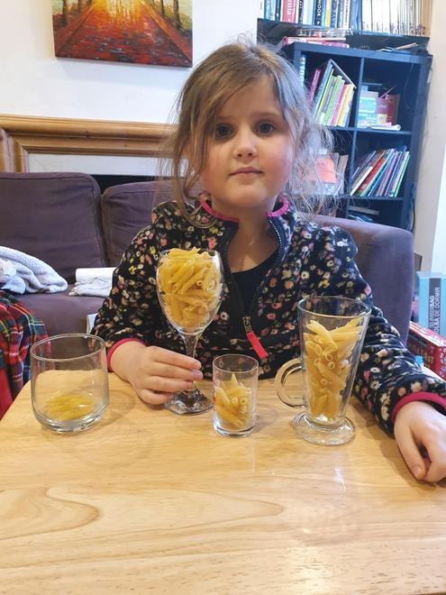 Julia exploring capacity with pasta
