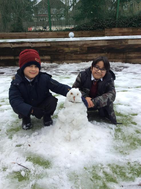 Thaddeus and Rayyan made a brilliant snowman during lunchtime play!
