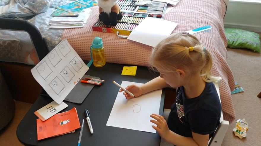 Laura learning to draw a fox