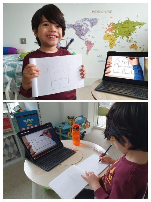Thomas draws the giant's castle