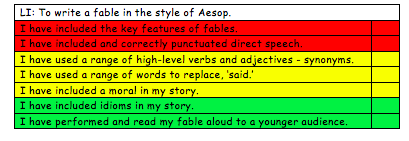 Aim for red, amber and green criteria in your writing