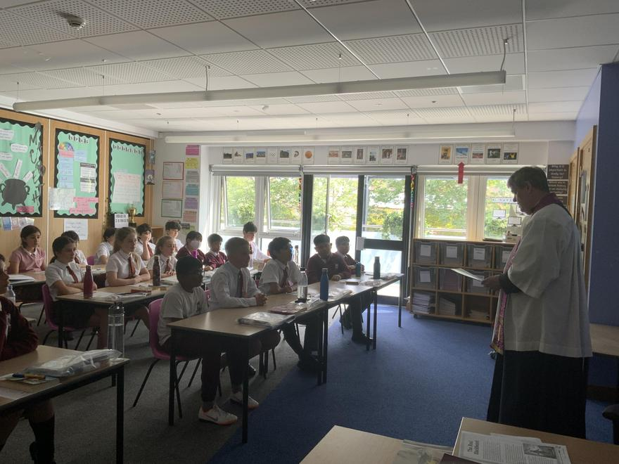 Father Neil, our Parish Priest, blessing the Year 6 Leavers 2021