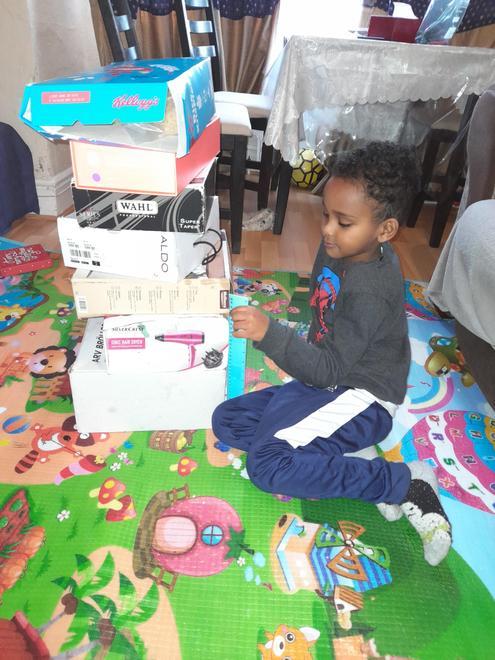 Jonathan building his tower