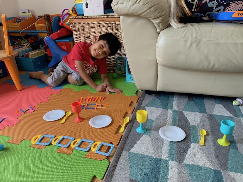 Mateo B making patterns