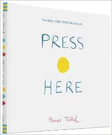 Press Here is an award winning invitation to push the yellow button on the cover and trigger a magical journey of colour, imagination, and virtual interactivity. All the more remarkable that this adventure has all occured on the flat surface of the simple, printed page, especially in today s digital age.