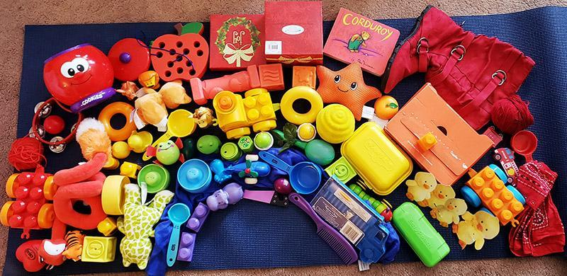 Make a rainbow using objects from around your house. Take a photo & send it to us on Dojo