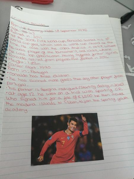 Sophie's Ronaldo Fact File - well set out
