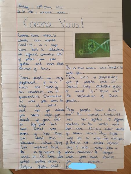 Newspaper report about Coronavirus By Liliana
