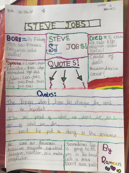 Excellent fact file on Steve Jobs by Rameen